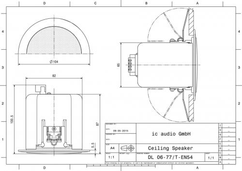 DL 06-77/T-EN54 Einbaulautsprecher 100V