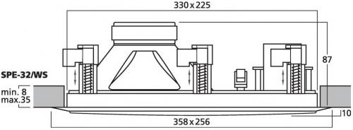 rechteckiger HiFi Einbaulautsprecher SPE-32/WS