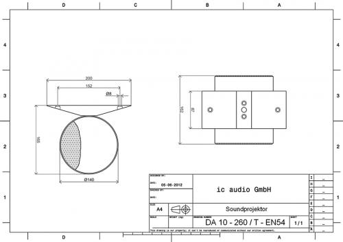 Aluminium Soundprojektor, 10 Watt, 100 Volt, zertifiziert gemäß