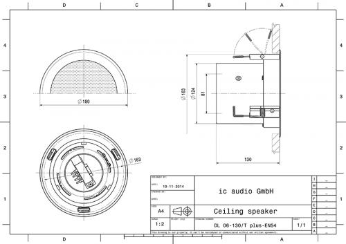 Deckeneinbaulautsprecher, 6 Watt, 2-Wege, 100 Volt, zertifiziert