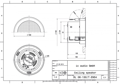 DL 06-130/T-EN54 Deckeneinbau-Lautsprecher EN 54-24