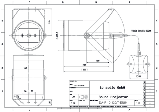 DA-P 10-130/T-EN54 Soundprojektor  100V , 10W