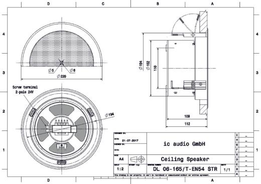 DL 06-165/T-EN54 STR Deckenlautsprecher 100V, 6W