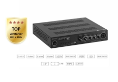 Kompakter 100V und HiFi Stereo-Mischverstärker mit Player + Bluetooth
